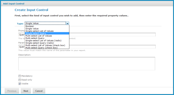 Query-based Input Controls | Jaspersoft Community