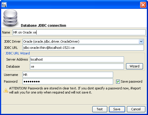 Database JDBC connection in iReport